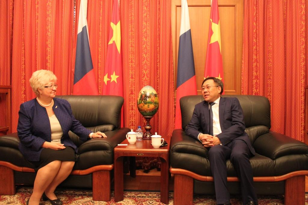 The acting as a head of MRSU Rector Veronika Stanislavovna Zapalatsky in the Chinese People's Republic Embassy